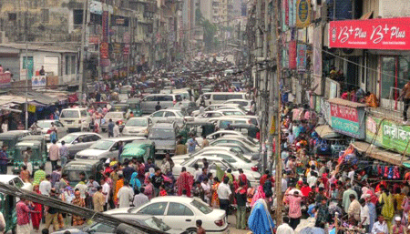 Dhaka city traffic Jam